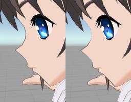 Toon01Edgeシェーダーのvertxcolor使用時のサンプル画像。鼻、顎の輪郭線が変化している。